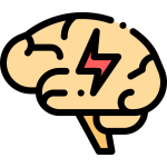brain with a lightning bolt