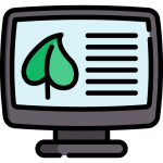 computer showing leaf with lines representing information about the plant