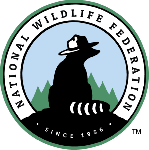 National Wildlife Federation logo featuring a raccoon with a park ranger hat and the text since 1936