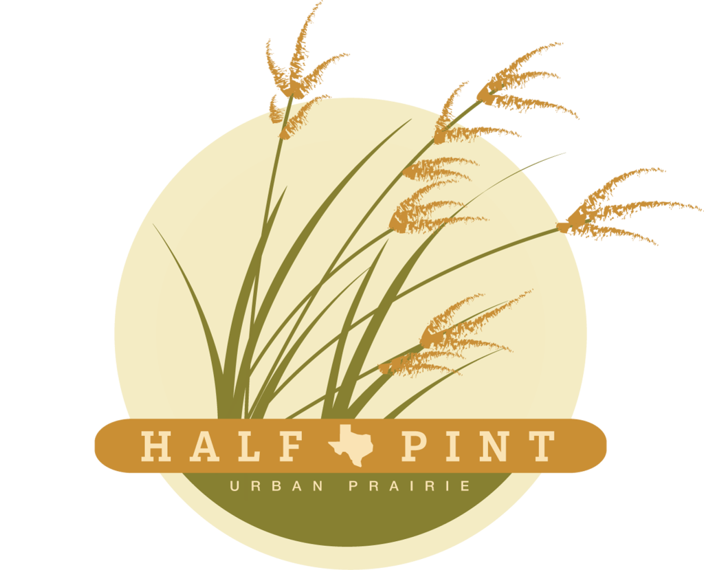 Half-Pint Urban Prairie logo featuring prairie grasses blowing in the wind