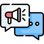 megaphone and speech bubble